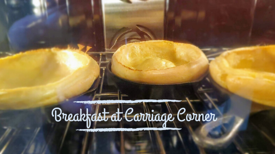 breakfast at carriage corner, this a photo of 3 individual Dutch Baby pancakes baking in the oven