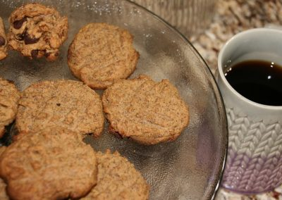 Enjoy fresh baked cookies and coffee or tea