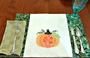 Pumpkin placemats on the Carriage Corner Breakfast Table