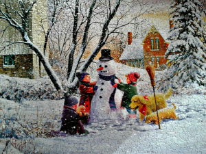 Completed Carriage Corner Snow Scene Puzzle - fun guest activity