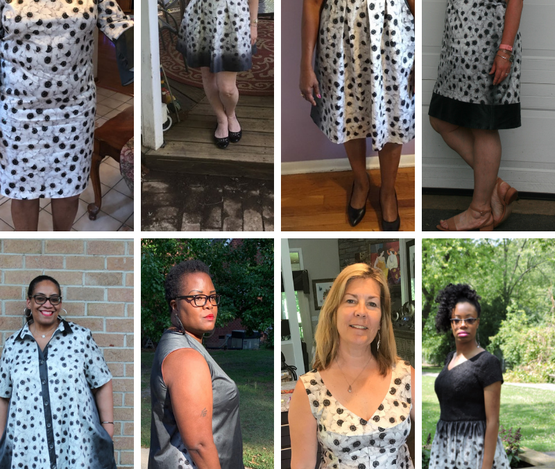 Grid of 8 beautiful ladies wearing garments they made from the FabricMart Challenge Fabric during #CarriageCornerSewCamp