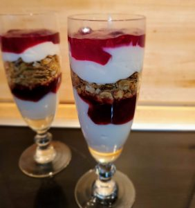 individually prepared breakfast parfaits to start your day off right