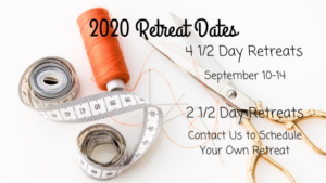 photo of sewing paraphernalia with dates of scheduled retreats