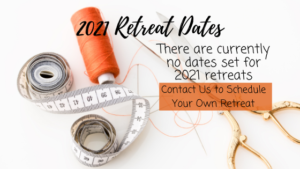 photo of sewing notions with text regarding 2021 #CarriageCornerSewCamp Retreat Dates